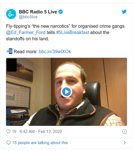 "Twitter post by @bbc5live: Fly-tipping's ""the new narcotics"" for organised crime gangs.  @Ed_Farmer_Ford tells #5LiveBreakfast about the standoffs on his land.📲 Read more"