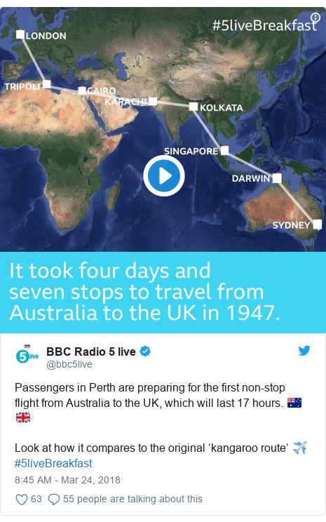 Twitter post by @bbc5live: Passengers in Perth are preparing for the first non-stop flight from Australia to the UK, which will last 17 hours. ️🇦🇺🇬🇧Look at how it compares to the original 'kangaroo route' ✈#5liveBreakfast