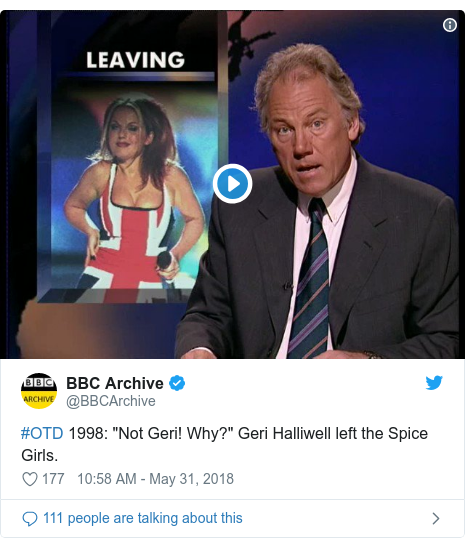 """Twitter post by @BBCArchive: #OTD 1998  """"Not Geri! Why?"""" Geri Halliwell left the Spice Girls."""