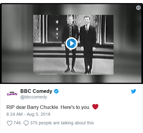 Twitter post by @bbccomedy: RIP dear Barry Chuckle. Here's to you. ❤️