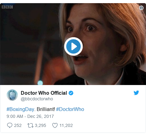 Twitter post by @bbcdoctorwho: #BoxingDay. Brilliant! #DoctorWho