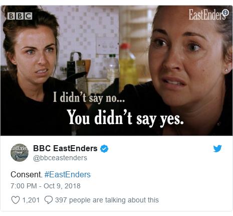 Twitter post by @bbceastenders: Consent. #EastEnders