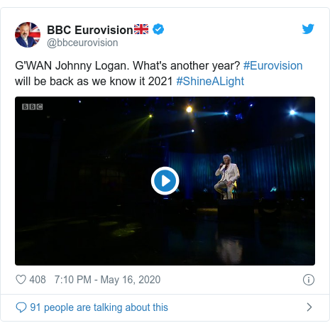 Twitter post by @bbceurovision: G'WAN Johnny Logan. What's another year? #Eurovision will be back as we know it 2021 #ShineALight
