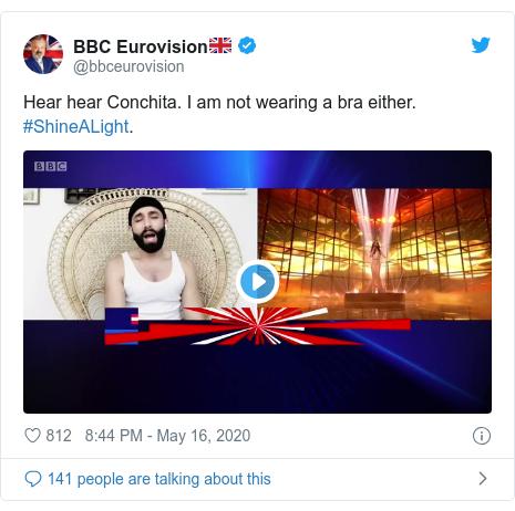 Twitter post by @bbceurovision: Hear hear Conchita. I am not wearing a bra either. #ShineALight.