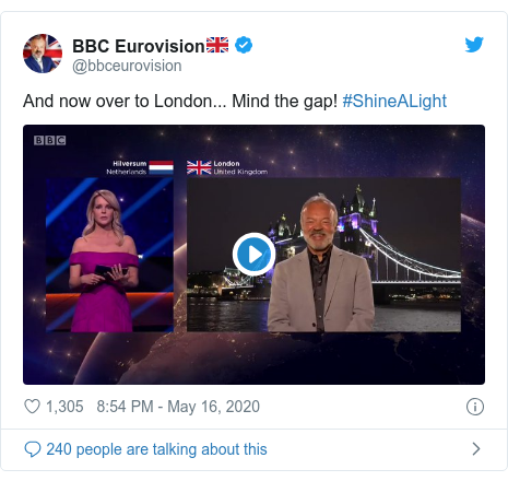 Twitter post by @bbceurovision: And now over to London... Mind the gap! #ShineALight