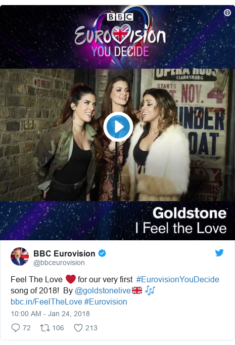 Twitter post by @bbceurovision: Feel The Love ❤️ for our very first  #EurovisionYouDecide song of 2018!  By @goldstonelive🇬🇧 🎶  #Eurovision