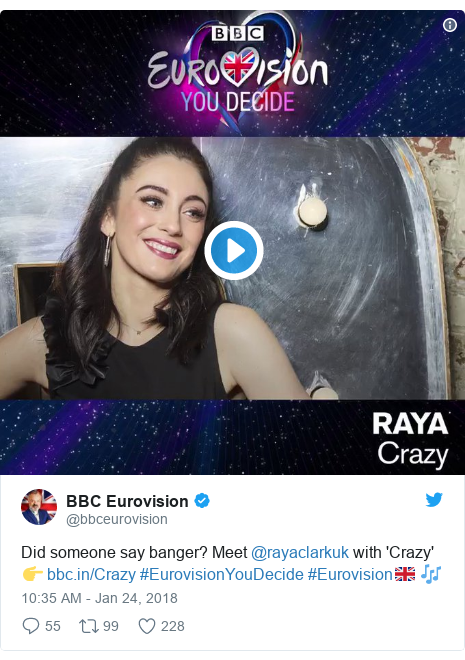 Twitter post by @bbceurovision: Did someone say banger? Meet @rayaclarkuk with 'Crazy' 👉  #EurovisionYouDecide #Eurovision🇬🇧 🎶