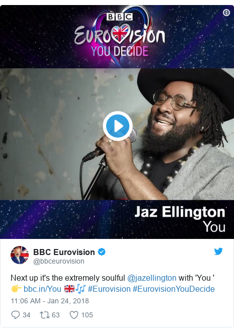 Twitter post by @bbceurovision: Next up it's the extremely soulful @jazellington with 'You '👉  🇬🇧🎶 #Eurovision #EurovisionYouDecide
