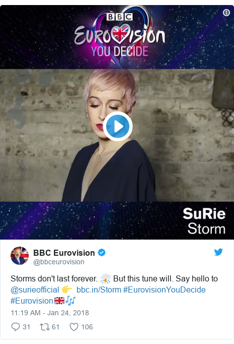 Twitter post by @bbceurovision: Storms don't last forever. ⛈ But this tune will. Say hello to @surieofficial 👉   #EurovisionYouDecide #Eurovision🇬🇧🎶