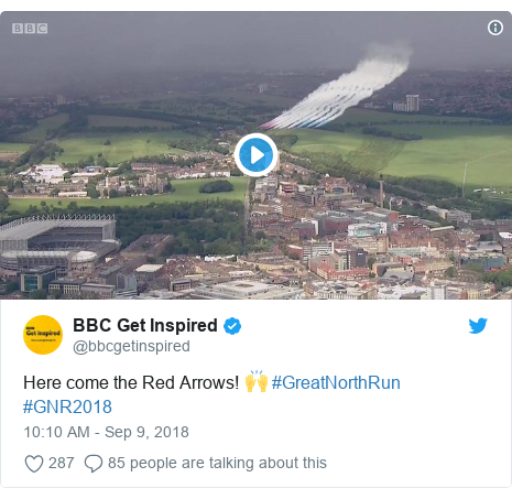 Twitter post by @bbcgetinspired: Here come the Red Arrows! 🙌 #GreatNorthRun #GNR2018