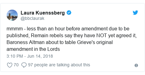 Twitter post by @bbclaurak: mmmm - less than an hour before amendment due to be published, Remain rebels say they have NOT yet agreed it, Baroness Altman about to table Grieve's original amendment in the Lords