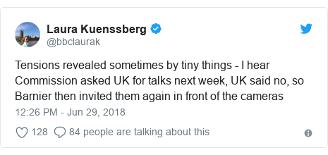 Twitter post by @bbclaurak: Tensions revealed sometimes by tiny things - I hear Commission asked UK for talks next week, UK said no, so Barnier then invited them again in front of the cameras