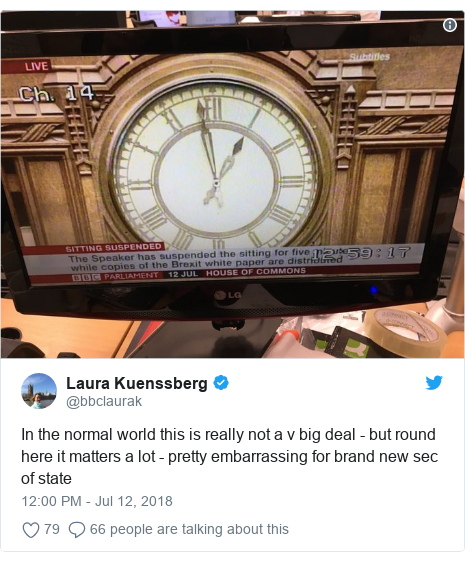Twitter post by @bbclaurak: In the normal world this is really not a v big deal - but round here it matters a lot - pretty embarrassing for brand new sec of state