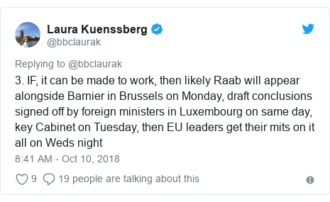 Twitter post by @bbclaurak: 3. IF, it can be made to work, then likely Raab will appear alongside Barnier in Brussels on Monday, draft conclusions signed off by foreign ministers in Luxembourg on same day, key Cabinet on Tuesday, then EU leaders get their mits on it all on Weds night