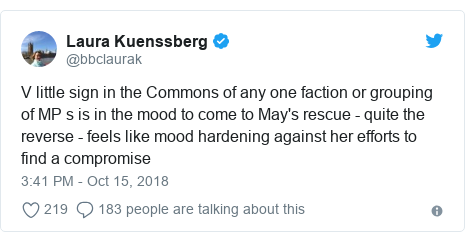 Twitter post by @bbclaurak: V little sign in the Commons of any one faction or grouping of MP s is in the mood to come to May's rescue - quite the reverse - feels like mood hardening against her efforts to find a compromise