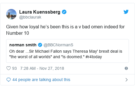 Twitter post by @bbclaurak: Given how loyal he's been this is a v bad omen indeed for Number 10
