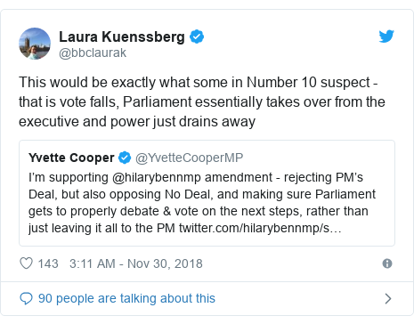 Twitter post by @bbclaurak: This would be exactly what some in Number 10 suspect - that is vote falls, Parliament essentially takes over from the executive and power just drains away