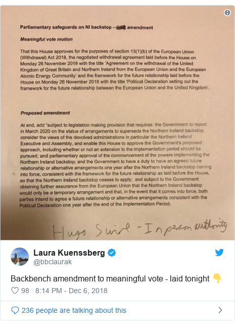 Twitter post by @bbclaurak: Backbench amendment to meaningful vote - laid tonight 👇