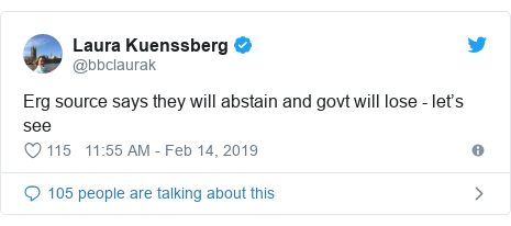 Twitter post by @bbclaurak: Erg source says they will abstain and govt will lose - let's see