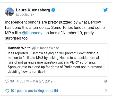 Twitter post by @bbclaurak: Independent pundits are pretty puzzled by what Bercow has done this afternoon.... Some Tories furious, and some MP s like @lisanandy, no fans of Number 10, pretty surprised too