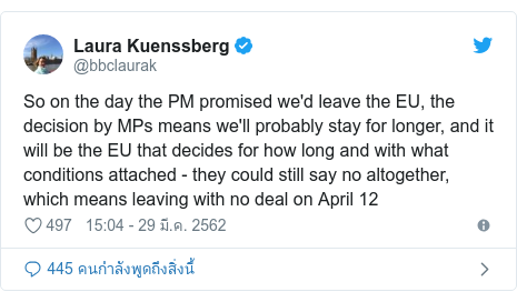 Twitter โพสต์โดย @bbclaurak: So on the day the PM promised we'd leave the EU, the decision by MPs means we'll probably stay for longer, and it will be the EU that decides for how long and with what conditions attached - they could still say no altogether, which means leaving with no deal on April 12
