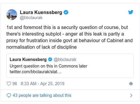 Twitter post by @bbclaurak: 1st and foremost this is a security question of course, but there's interesting subplot - anger at this leak is partly a proxy for frustration inside govt at behaviour of Cabinet and normalisation of lack of discipline