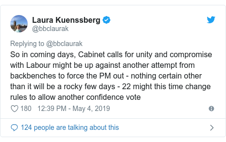 Twitter post by @bbclaurak: So in coming days, Cabinet calls for unity and compromise with Labour might be up against another attempt from backbenches to force the PM out - nothing certain other than it will be a rocky few days - 22 might this time change rules to allow another confidence vote