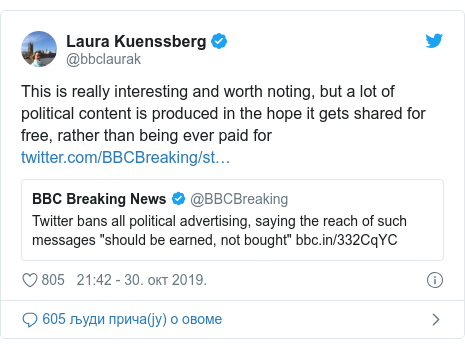Twitter post by @bbclaurak: This is really interesting and worth noting, but a lot of political content is produced in the hope it gets shared for free, rather than being ever paid for