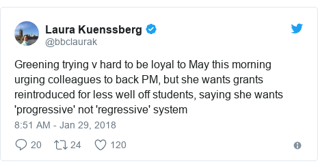 Twitter post by @bbclaurak: Greening trying v hard to be loyal to May this morning urging colleagues to back PM, but she wants grants reintroduced for less well off students, saying she wants 'progressive' not 'regressive' system