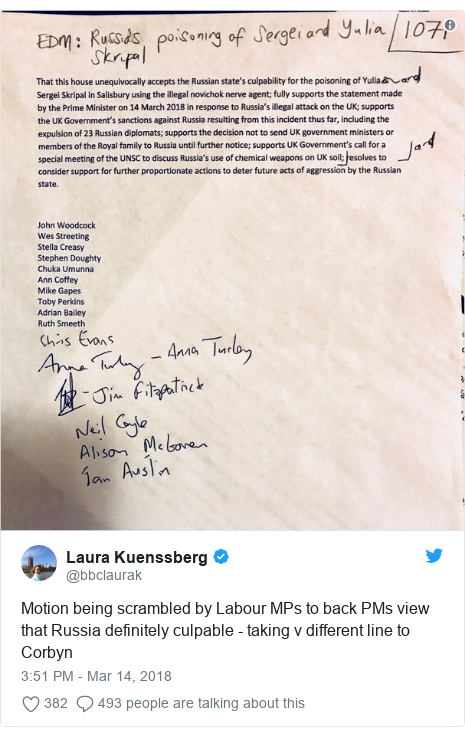 Twitter post by @bbclaurak: Motion being scrambled by Labour MPs to back PMs view that Russia definitely culpable - taking v different line to Corbyn