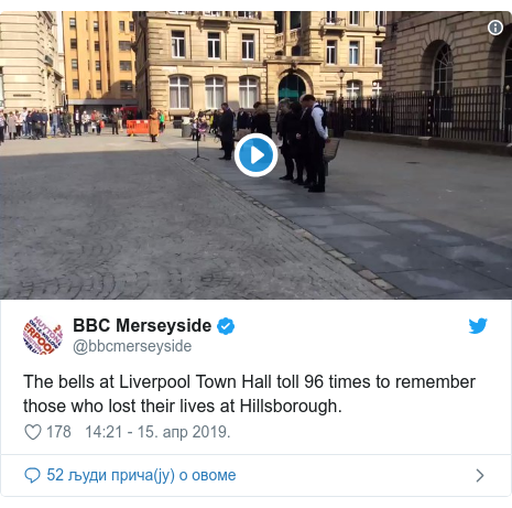 Twitter post by @bbcmerseyside: The bells at Liverpool Town Hall toll 96 times to remember those who lost their lives at Hillsborough.