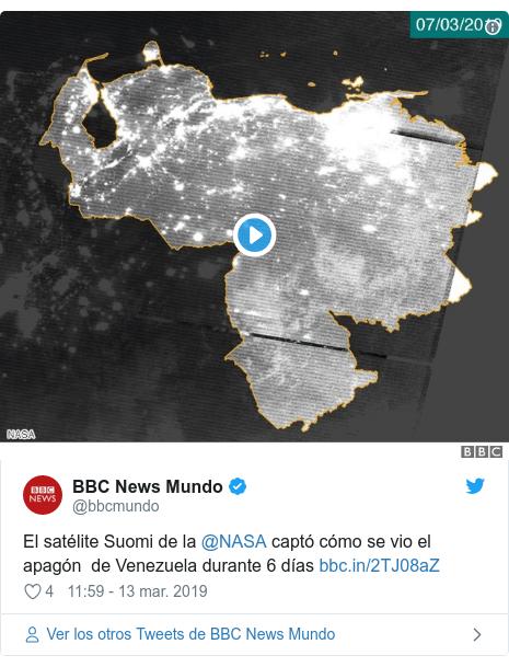 Publicación de Twitter por @bbcmundo: El satélite Suomi de la @NASA captó cómo se vio el apagón  de Venezuela durante 6 días