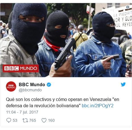 """Publicación de Twitter por @bbcmundo: Qué son los colectivos y cómo operan en Venezuela """"en defensa de la revolución bolivariana"""""""