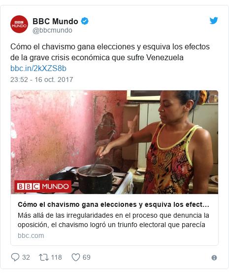 Publicación de Twitter por @bbcmundo: Cómo el chavismo gana elecciones y esquiva los efectos de la grave crisis económica que sufre Venezuela