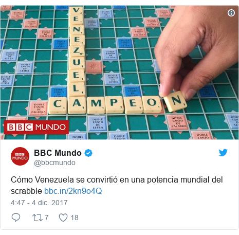 Publicación de Twitter por @bbcmundo: Cómo Venezuela se convirtió en una potencia mundial del scrabble