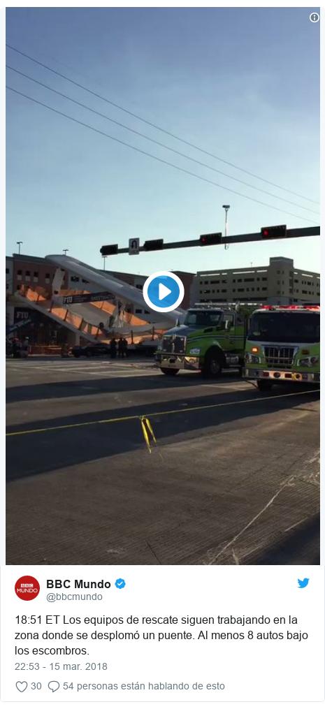 Publicación de Twitter por @bbcmundo: 18 51 ET Los equipos de rescate siguen trabajando en la zona donde se desplomó un puente. Al menos 8 autos bajo los escombros.