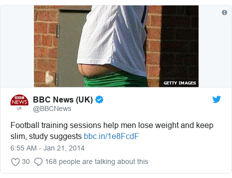 Twitter post by @BBCNews: Football training sessions help men lose weight and keep slim, study suggests