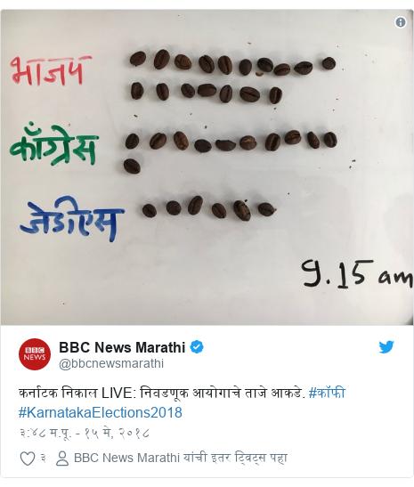 Twitter post by @bbcnewsmarathi: कर्नाटक निकाल LIVE  निवडणूक आयोगाचे ताजे आकडे. #काॅफी #KarnatakaElections2018