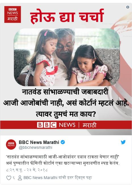 Twitter post by @bbcnewsmarathi: 'नातवंड सांभाळण्यासाठी आजी-आजोबांवर दबाव टाकता येणार नाही' असं पुण्यातील फॅमिली कोर्टानं एका खटल्याच्या सुनावणीत स्पष्ट केलंय.