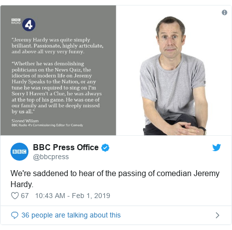 Twitter post by @bbcpress: We're saddened to hear of the passing of comedian Jeremy Hardy.