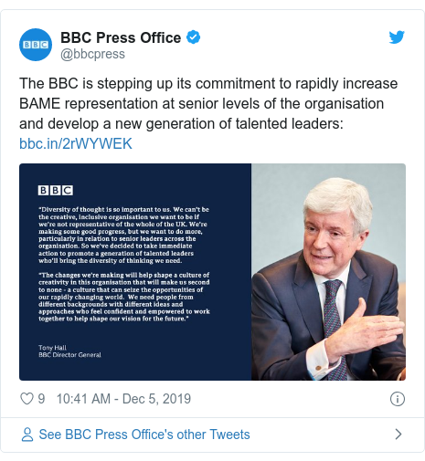 Twitter post by @bbcpress: The BBC is stepping up its commitment to rapidly increase BAME representation at senior levels of the organisation and develop a new generation of talented leaders