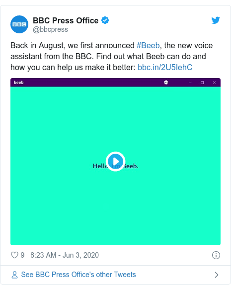 Twitter post by @bbcpress: Back in August, we first announced #Beeb, the new voice assistant from the BBC. Find out what Beeb can do and how you can help us make it better