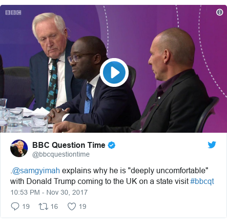 "Twitter post by @bbcquestiontime: .@samgyimah explains why he is ""deeply uncomfortable"" with Donald Trump coming to the UK on a state visit #bbcqt"
