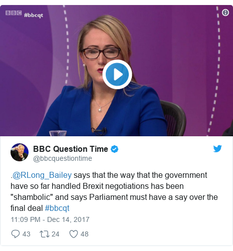 """Twitter post by @bbcquestiontime: .@RLong_Bailey says that the way that the government have so far handled Brexit negotiations has been """"shambolic"""" and says Parliament must have a say over the final deal #bbcqt"""