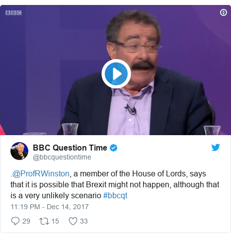 Twitter post by @bbcquestiontime: .@ProfRWinston, a member of the House of Lords, says that it is possible that Brexit might not happen, although that is a very unlikely scenario #bbcqt