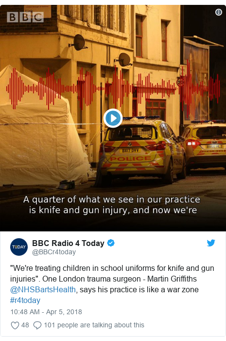 "Twitter post by @BBCr4today: ""We're treating children in school uniforms for knife and gun injuries"". One London trauma surgeon - Martin Griffiths @NHSBartsHealth, says his practice is like a war zone #r4today"