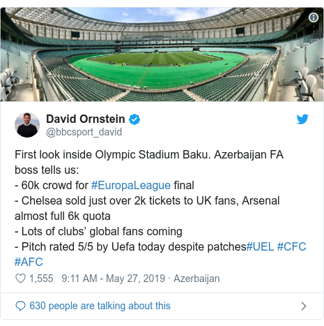 @bbcsport_david tərəfindən edilən Twitter paylaşımı: First look inside Olympic Stadium Baku. Azerbaijan FA boss tells us - 60k crowd for #EuropaLeague final- Chelsea sold just over 2k tickets to UK fans, Arsenal almost full 6k quota- Lots of clubs' global fans coming- Pitch rated 5/5 by Uefa today despite patches#UEL #CFC #AFC