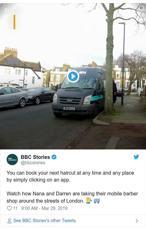 Twitter post by @bbcstories: You can book your next haircut at any time and any place by simply clicking on an app. Watch how Nana and Darren are taking their mobile barber shop around the streets of London. 💇♂️🚐