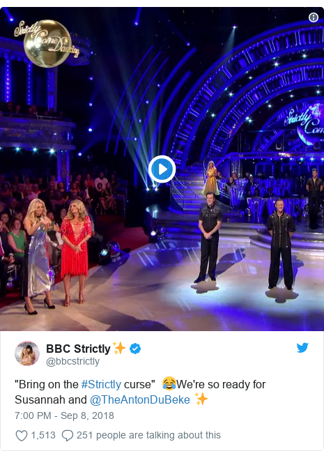 "Twitter post by @bbcstrictly: ""Bring on the #Strictly curse""  😂We're so ready for Susannah and @TheAntonDuBeke ✨"