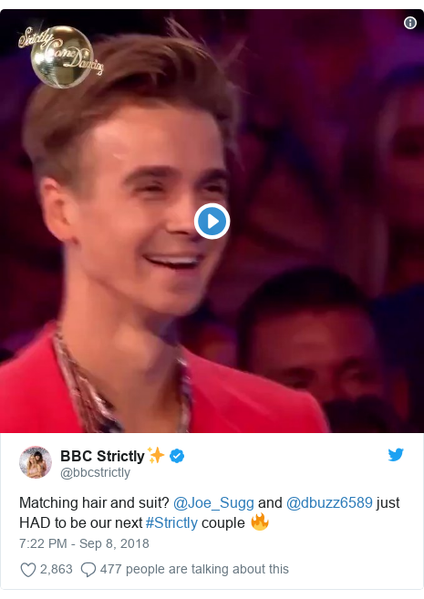 Twitter post by @bbcstrictly: Matching hair and suit? @Joe_Sugg and @dbuzz6589 just HAD to be our next #Strictly couple 🔥